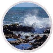 Wave Crashing On California Coast Round Beach Towel