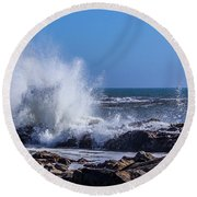 Wave Crashing On California Coast Round Beach Towel