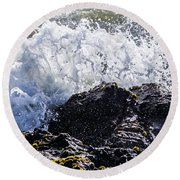 California Coast Wave Crash 4 Round Beach Towel