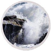 California Coast Wave Crash 6 Round Beach Towel