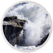 California Coast Wave Crash 6 Round Beach Towel