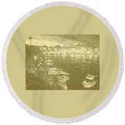 Cala Fonts At Night Round Beach Towel