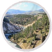 Calcite Springs Along The Bank Of The Yellowstone River Round Beach Towel