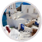 Caldera With Stairs And Church At Santorini Round Beach Towel