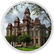 Caldwell County Courthouse Round Beach Towel