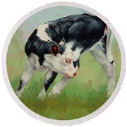 Round Beach Towel featuring the painting Calf Contortions by Margaret Stockdale