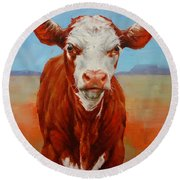 Calf Stare Round Beach Towel