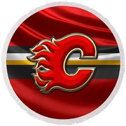 Calgary Flames - 3d Badge Over Flag Round Beach Towel