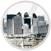 Calgary Skyline 1 Round Beach Towel by Stuart Turnbull