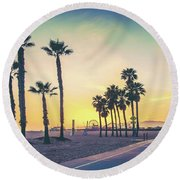 Cali Sunset Round Beach Towel by Az Jackson