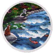 Calico Cat At Koi Pond Round Beach Towel