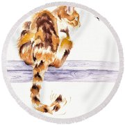 Calico Cat Bee Watchful Round Beach Towel