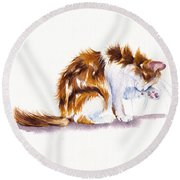 Calico Cat Washing Round Beach Towel