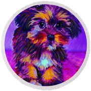 Calico Dog Round Beach Towel
