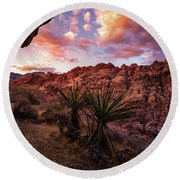 Calico Sunset Round Beach Towel