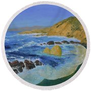 Calif. Coast Round Beach Towel