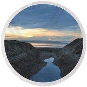 California Beach Stream At Sunset - Alt View Round Beach Towel