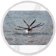 California Brown Pelicans Flying In Tandem Round Beach Towel