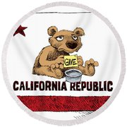 California Budget Begging Round Beach Towel