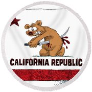 California Budget Harakiri Round Beach Towel