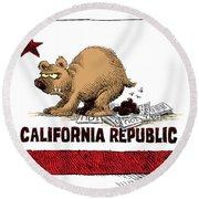 California Budget Iou Round Beach Towel