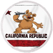 California Budget Suicide Round Beach Towel