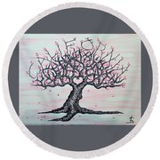 Round Beach Towel featuring the drawing California Cherry Blossom Love Tree by Aaron Bombalicki