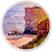 California Cliffs.. Round Beach Towel