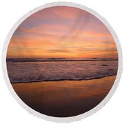 Round Beach Towel featuring the photograph Cardiff Reflections by John F Tsumas