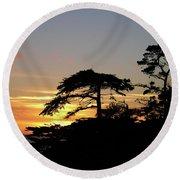 California Coastal Sunset Round Beach Towel