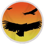 California Condors In Flight Silhouette At Sunset Round Beach Towel