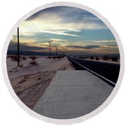 California Desert Highway Round Beach Towel
