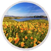 Round Beach Towel featuring the photograph California Dreamin by Tassanee Angiolillo