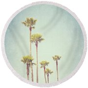 California Dreaming - Palm Tree Print Round Beach Towel