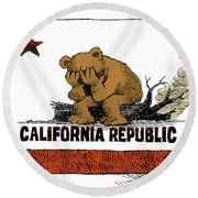 California Fire Bear Grieves Round Beach Towel