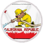 California Firefighter Flag Round Beach Towel