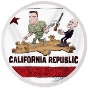 California Governor Handoff Round Beach Towel