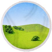 California Hillside Round Beach Towel by Melanie Alexandra Price