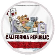 California Is Sick Round Beach Towel