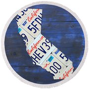 California License Plate Map On Blue Round Beach Towel