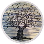 Round Beach Towel featuring the drawing California Love Tree by Aaron Bombalicki