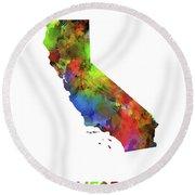 California  Map Watercolor Round Beach Towel