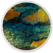 California Pine Bark Abstract Round Beach Towel