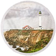 California - Point Arena Beacon Round Beach Towel