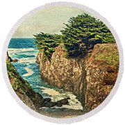 California - Point Cabrillo Cove Round Beach Towel