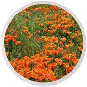 Round Beach Towel featuring the mixed media California Poppies- Art By Linda Woods by Linda Woods