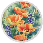 California Poppies In Bloom Round Beach Towel