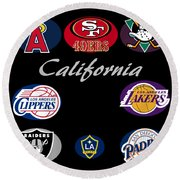 California Professional Sport Teams Collage  Round Beach Towel