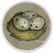 California Quail Eggs In Nest Round Beach Towel
