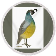 California Quail Posing Round Beach Towel